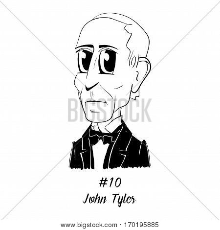 Cartoon Caricature Character Historical Portrait US Presidents Comic Emoticon - John Tyler