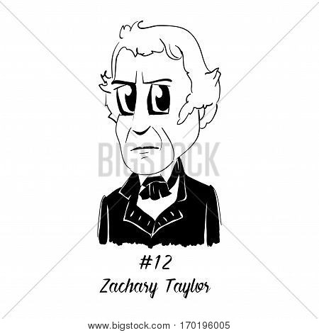 Cartoon Caricature Character Historical Portrait US Presidents Comic Emoticon - Zachary Taylor