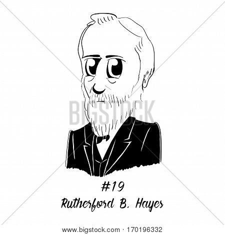 Cartoon Caricature Character Historical Portrait US Presidents Comic Emoticon - Rutherford B. Hayes