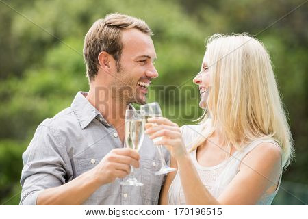 Smiling couple toasting champagne flutes at resort