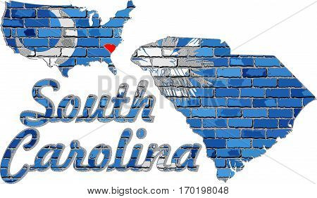 South Carolina on a brick wall with effect - 3D Illustration, Font with the South Carolina flag