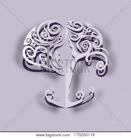 Paper cut out yoga tree. Woman practicing yoga. Woman meditating. Vector illustration.