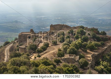 ruins of Nimrod fortress, medieval muslim castle situated on the southern slopes of Mount Hermon, Golan Heights, Israel