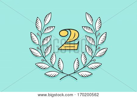 Laurel wreath icon with number Two isolated on a turquoise background. Hand drawn design and element for tournament, competition, winner, prize and awarding. Vector Illustration