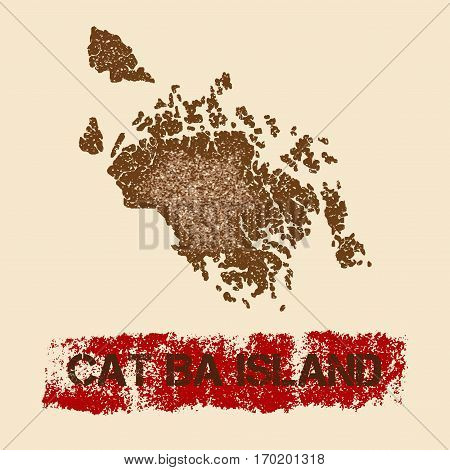 Cat Ba Island Distressed Map. Grunge Patriotic Poster With Textured Island Ink Stamp And Roller Pain