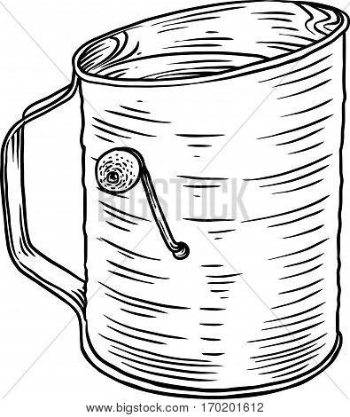 Flour sifter illustration, drawing, engraving, line art