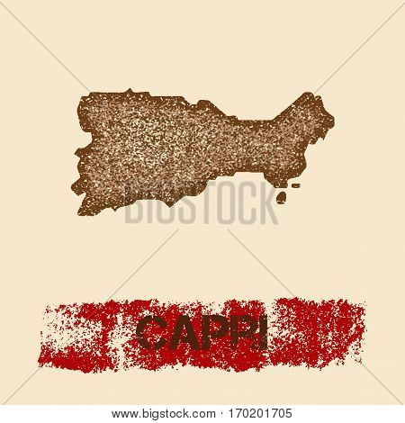 Capri Distressed Map. Grunge Patriotic Poster With Textured Island Ink Stamp And Roller Paint Mark,