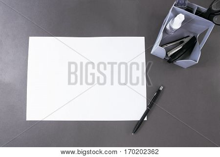 Office table desk or school supplies on table. School and office tools on office table. Desk with paper note and stationery object on office desk. Office desk concept.