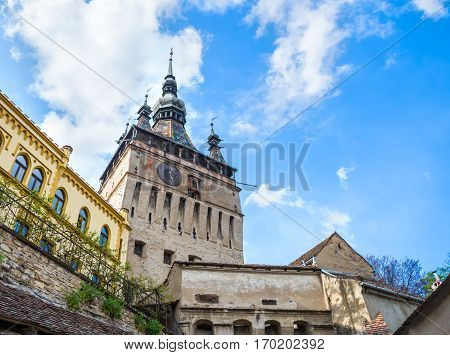Beautiful and artistic tower-bell of the famous Citadel in Sighisoara, town of Transylvania - Romania