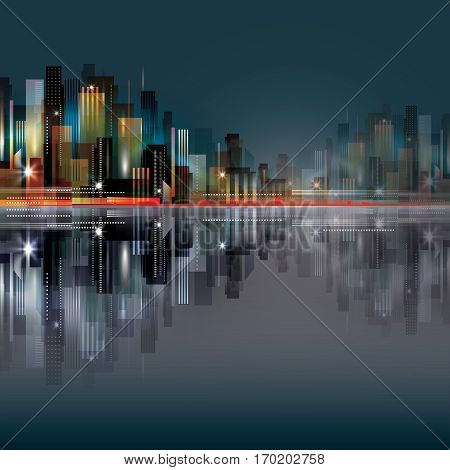 City Scene At Night With Waterfront