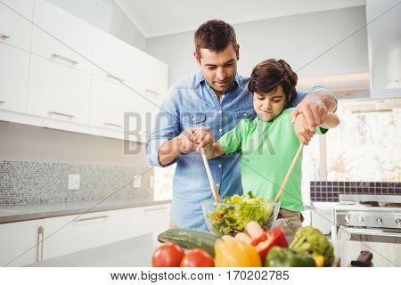 Cheerful father and son preparing salad at home