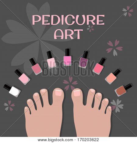 Pedicure art. Image toes and nail polish