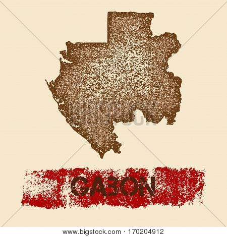Gabon Distressed Map. Grunge Patriotic Poster With Textured Country Ink Stamp And Roller Paint Mark,