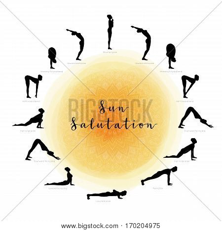 Vector illustration of Sun Salutation. Surya Namaskara