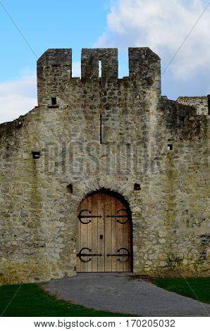 Wood front doors to Desmond Castle in Limerick Ireland.
