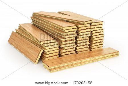 Stack of parquet. Timberwork lumber work and woodwork industry concept: stacks of wooden timber planks isolated on white background. 3d illustration