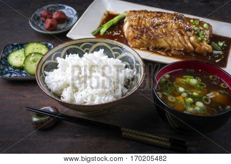 Fish Teriyaki with Miso Soup and Rice