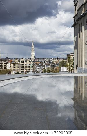 Brussels Belgium - April 17 2016: View from Mont des Arts with on the tower of the famous cityhall