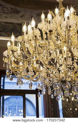 close up on ancient Murano glass crystal chandelier