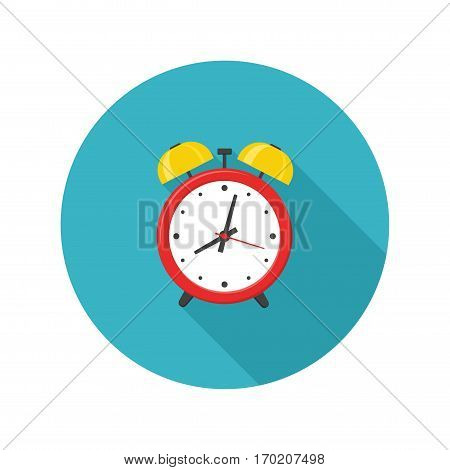 Alarm clock red icon with shadow isolated on white background in flat style. Vector illustration