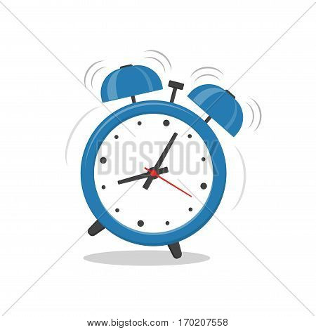 Alarm clock blue wake-up time isolated on white background in flat style. Vector illustration