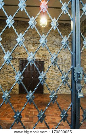 Wrought iron grille gate. Former Russian winery Abrau Durso.