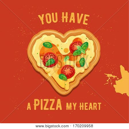 Pizza illustration with cheese and tomatoes with basil leaves ingredients on vintage background. Pizza in the shape of a heart