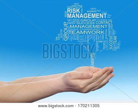 Concept conceptual business text word cloud on man hand, tagcloud on blue sky background metaphor to business team, teamwork, management, effective, success, communication, company, cooperation symbol