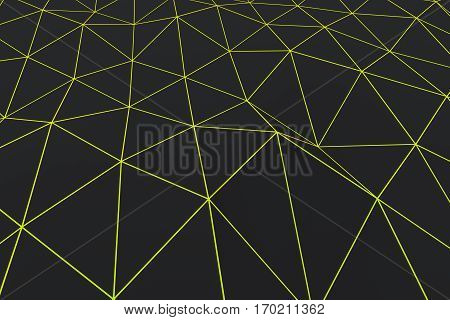 Dark Low Poly Displaced Surface With Glowing Connecting Lines