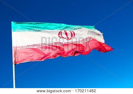 In Iran Iranian Waving   Flag