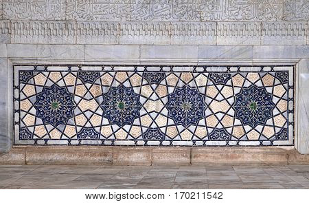 Old Eastern mosaic on wall of a mosque, Uzbekistan