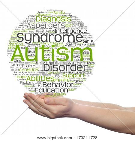 Concept conceptual childhood autism syndrome symtoms or disorder abstract word cloud held in hands isolated on background metaphor to communication, social, behavior, care, autistic, speech difference