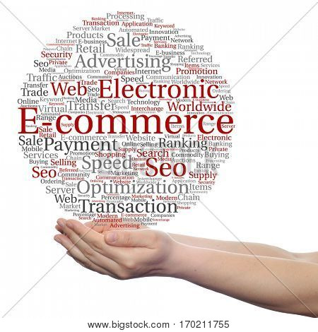 Concept conceptual E-commerce electronic sales circle word cloud in hands isolated on background metaphor to seo, optimization, transaction, web advertising, e-business, technology, worldwide supply