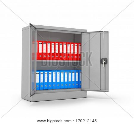 Ring binders and folders in metal cases on a white background. 3D illustration.