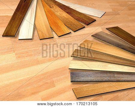New planks of oak parquet of different colors on wooden floor. 3d render