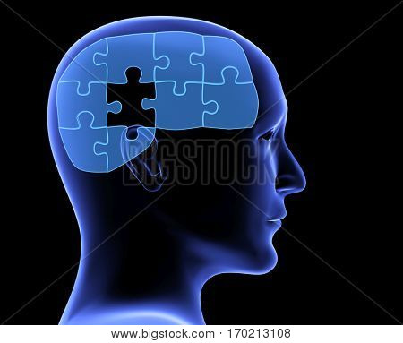 Memory loss. Human profile and brain in the form of the puzzle with one missing piece. On blue background. 3d render