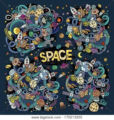 Colorful vector hand drawn doodles cartoon set of Space objects and symbols
