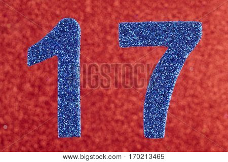 Number seventeen blue color over a red background. Anniversary. Horizontal