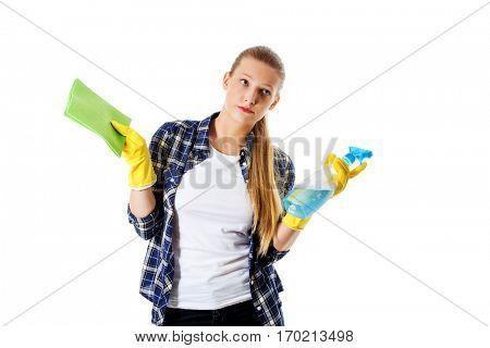 Cleaning concept. Young woman cleaninc.
