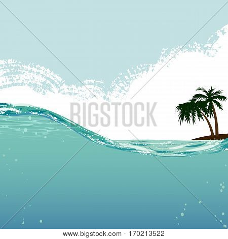 Illustration of tropic island with palm and underwater