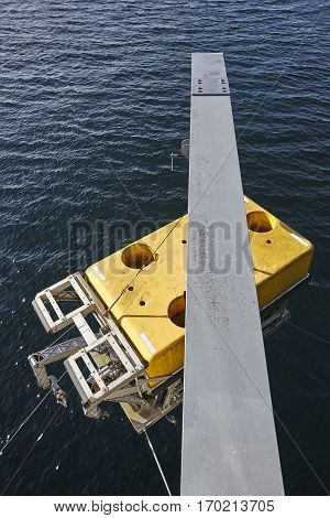 Scientific submarine robot with crane ready to be submerged. Research