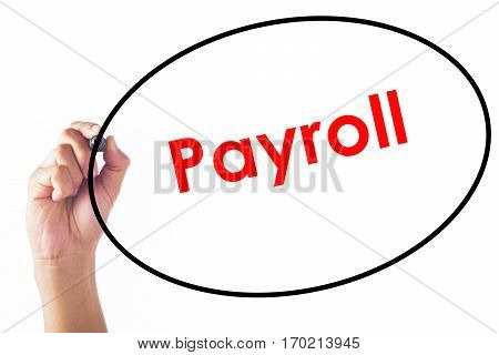 Businessman hand writing Payroll word with pen.