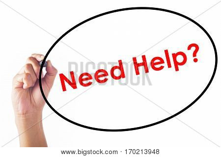 Businessman writing Need Help word with pen