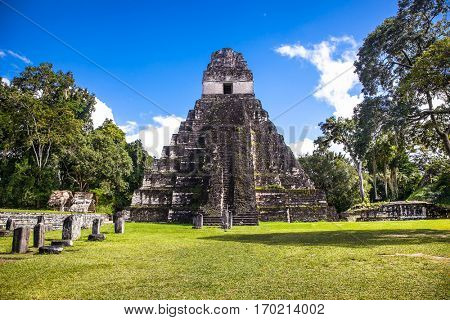 The Gran Plaza at the archaeological site Tikal, Guatemala.
