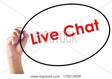 Businessman Writing Live Chat Word With Pen