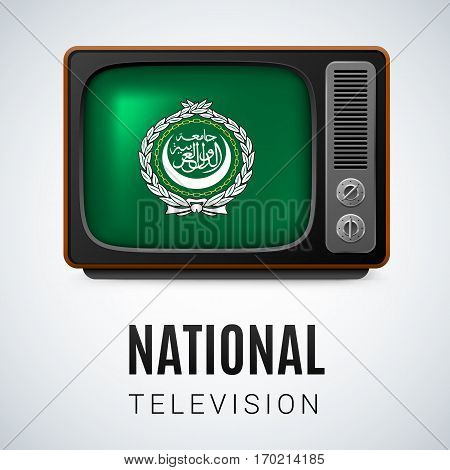 Vintage TV and Flag of Arab League as Symbol National Television. Tele Receiver with flag design