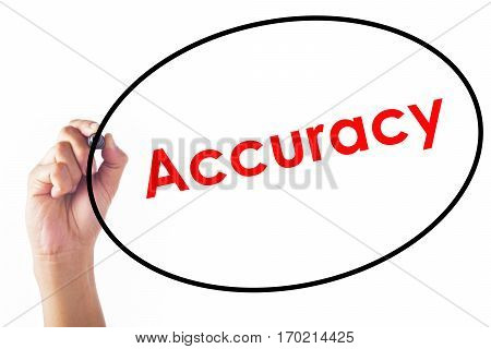 Businessman hand writing Accuracy word with pen.