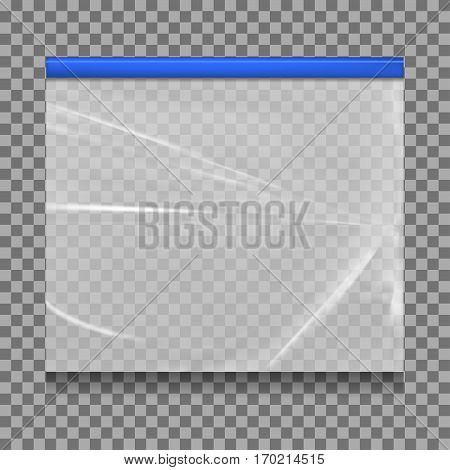 Empty Transparent Plastic Pocket Bags  isolated on white background