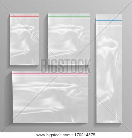 Empty Transparent Plastic Pocket Bags. isolated on white background