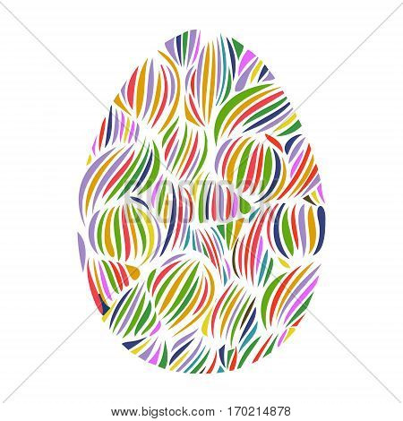 Hand Drawn Ornamental Easter Egg With Colorful Wave Pattern. Cute Doodle Style Easter Egg. Decorativ